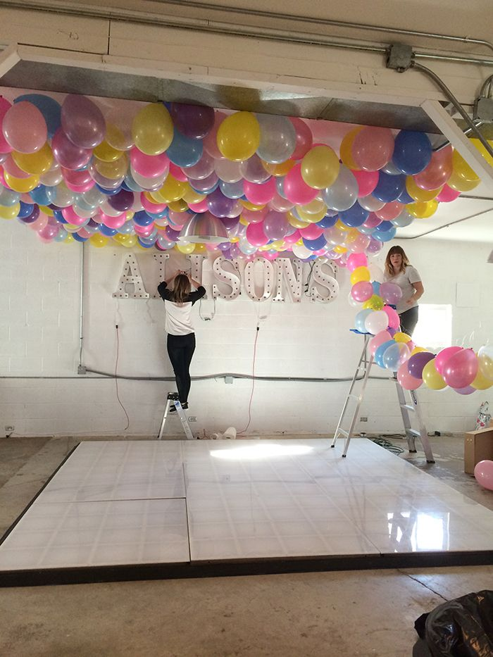 Diy balloon ceiling decor for Ceiling hanging decorations ideas