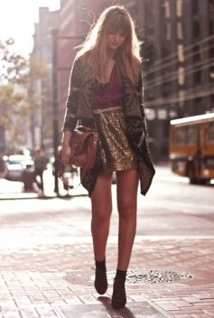 sequin skirt + jacket