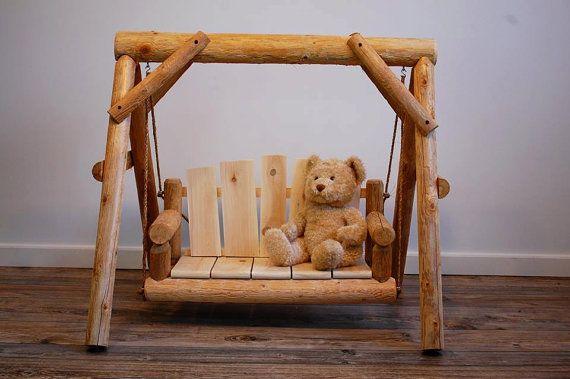 Rustic Wood Cedar Log Porch Swing Chair Bench Spring