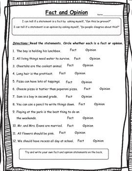 Fact Or Opinion Worksheet 2nd Grade