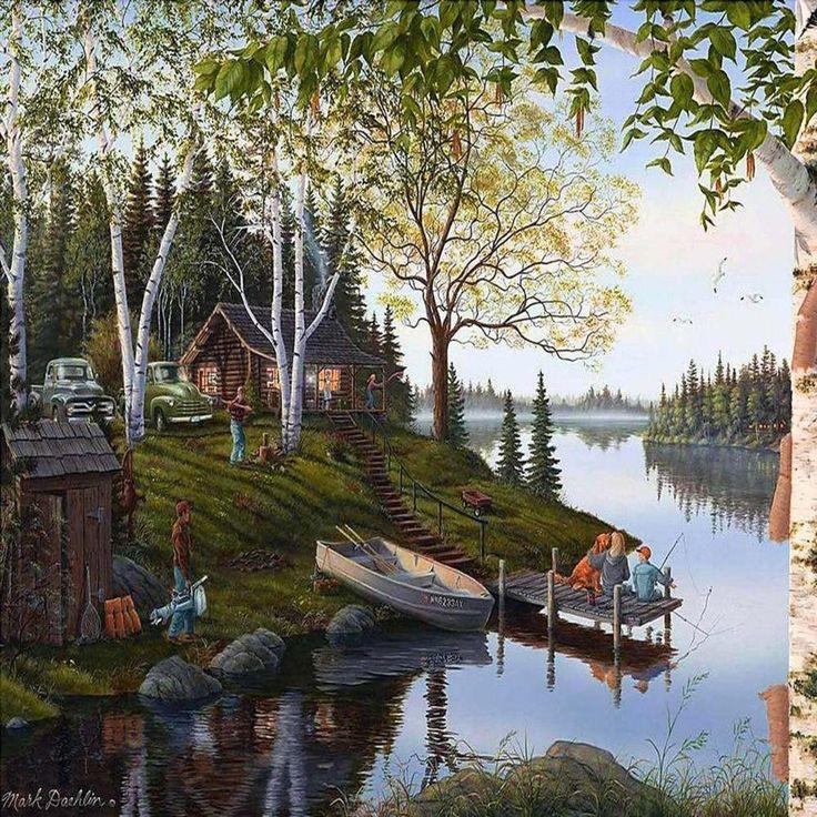 Mountain Wallpaper Kinkade Thomas Cabin