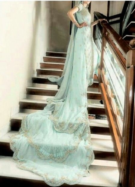 Mint Green Wedding Dress With Long Tail Green