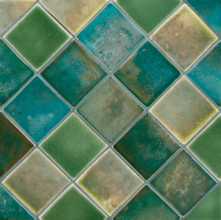 "ANN SACKS Fire and Earth 3"" x 3"" ceramic fields in 82-l blue silver gold luster, 93-l sage green luster and 4-f-p chromium green crystal:"