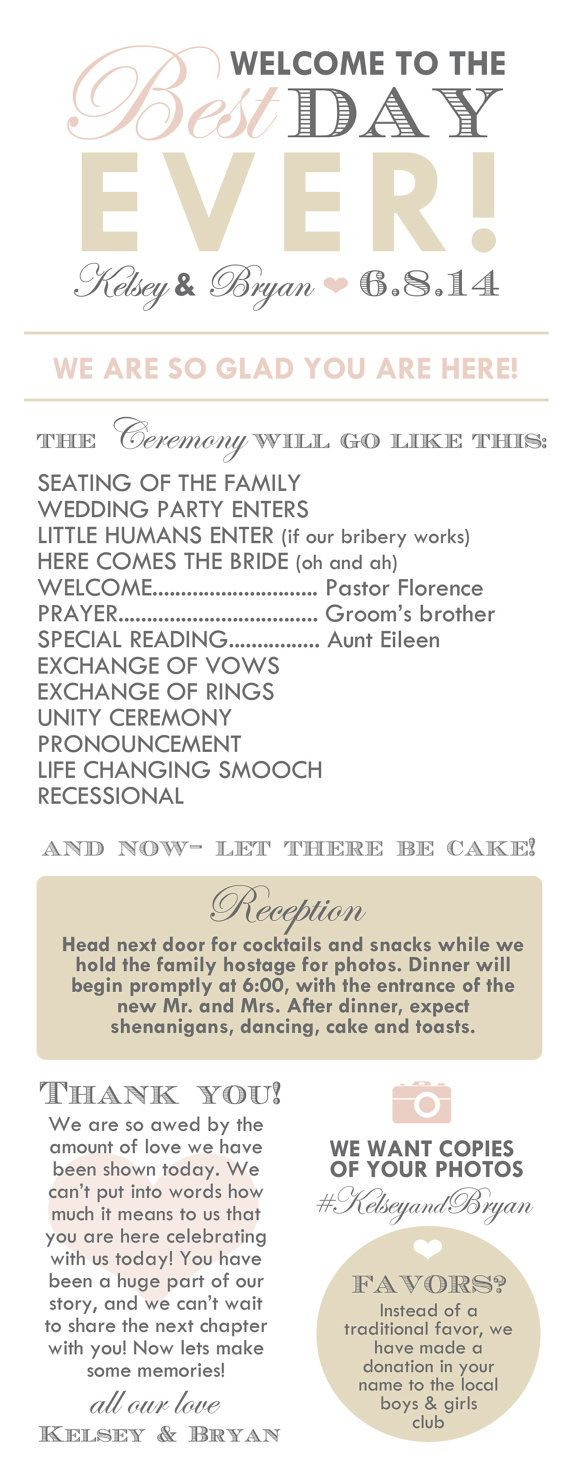 Infographic Wedding Program- I pretty much want to steal this word for word!