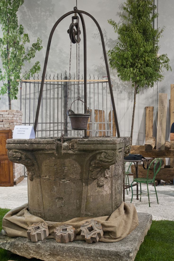 Stone Well With Pulley Archi Amp Parchi Outdoor Landscape Antiques Pinterest Pulley