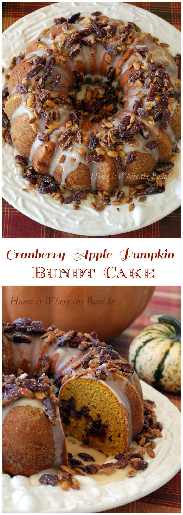 Cranberry-Apple-Pumpkin Bundt Cake! The flavors of fall in a cake, with a Maple Glaze and Sugared Pecans & Pepitas | homeiswheretheboatis.net #fall #bundt #cake #recipes