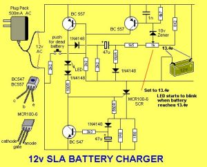 Solar Charge Controller Circuit Diagram | The LED flashes when the battery is charged