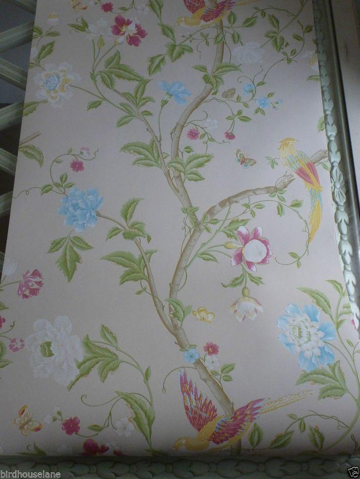 Summer Palace Linen Wallpaper Birds Butterflies Laura