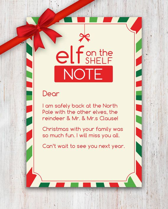 Elf on the Shelf idea – goodbye letter