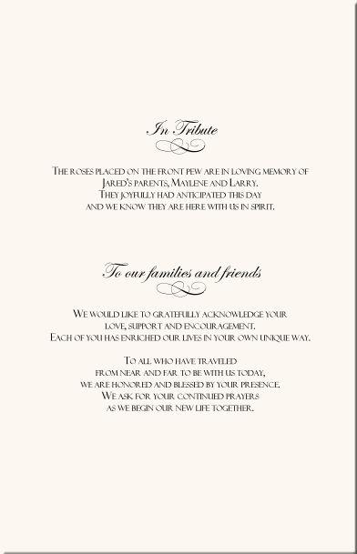 Wedding Program Wording Rose Wedding Program Examples