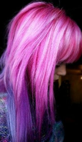 blue through purple to pink with white highlights balayage hair let down your hair