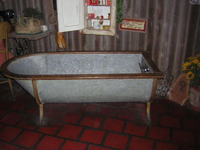 Galvanized Horse Trough Shower Old Metal Bathtub