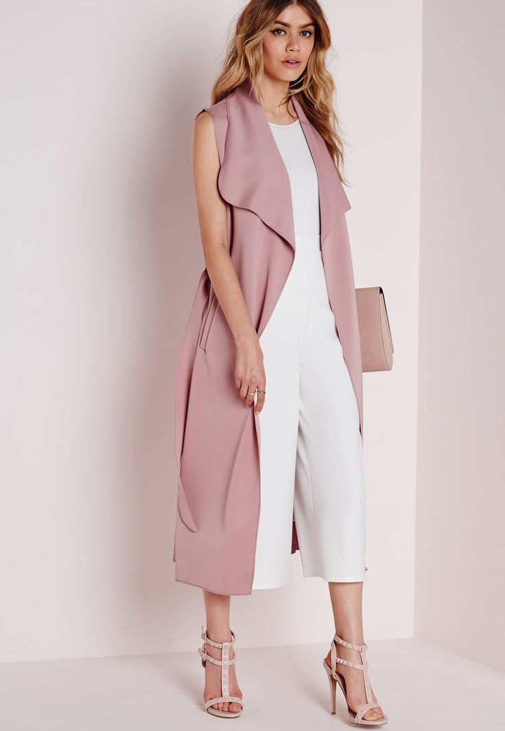 Sleeveless Belted Waterfall Duster Coat Mauve Coats And