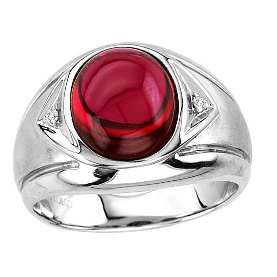 Mens Oval Cabochon Ruby Ring In Sterling Silver Mens