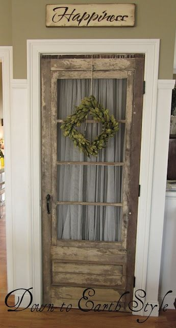 use an old exterior door for a pantry door…this website has tons of rustic chic home design