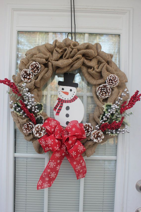 Winter Burlap Wreath Snowman Red And Silver By