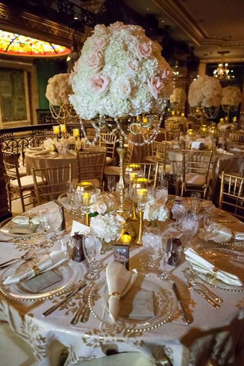 Centerpieces White Hydrangeas Blush Pink Roses Ivory