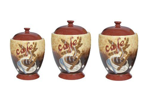 Cafe Latte Canister Sets Coffee Themed Kitchen Canister