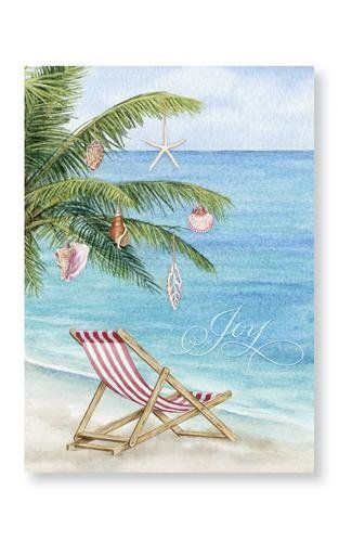 Palm Tree And Beach Chair Scene Holiday Christmas Cards By