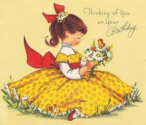 Sweet Vintage Color Birthday Card Little Girl And Red And Yellow Dress And A Pony Tail In