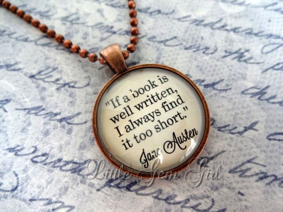 Jane Austen Book Quote Jewelry – Book Quote Necklace or Keychain – Antique Coppe