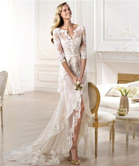 Sexy Italian Wedding Dresses | … Sheath V Neck High Low Front Slit Lace Wedding Dress With Sleeve