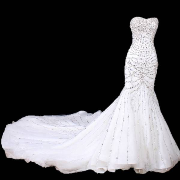 Intricately  beaded sweetheart mermaid wedding dress