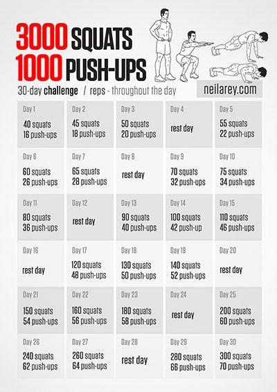 3000 squats and 1000 push ups 30day challenge health