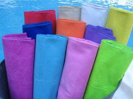 Tube Towels For The Pool Made Of Micro Fiber Suede Kind