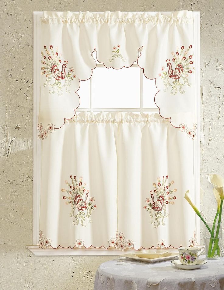Peacock Embroidered Ruffle Kitchen Curtain Set Swag Valance 60 X 36 Two Tiers 30 X 36 Red