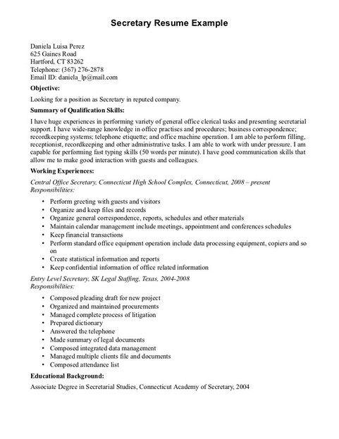 Resume Computer Skills Examples Secretary Resume