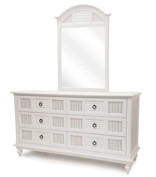 Key West Cottage White Wicker Bedroom Suite By Seawinds Trading B349 B34936 Six Drawer Dresser