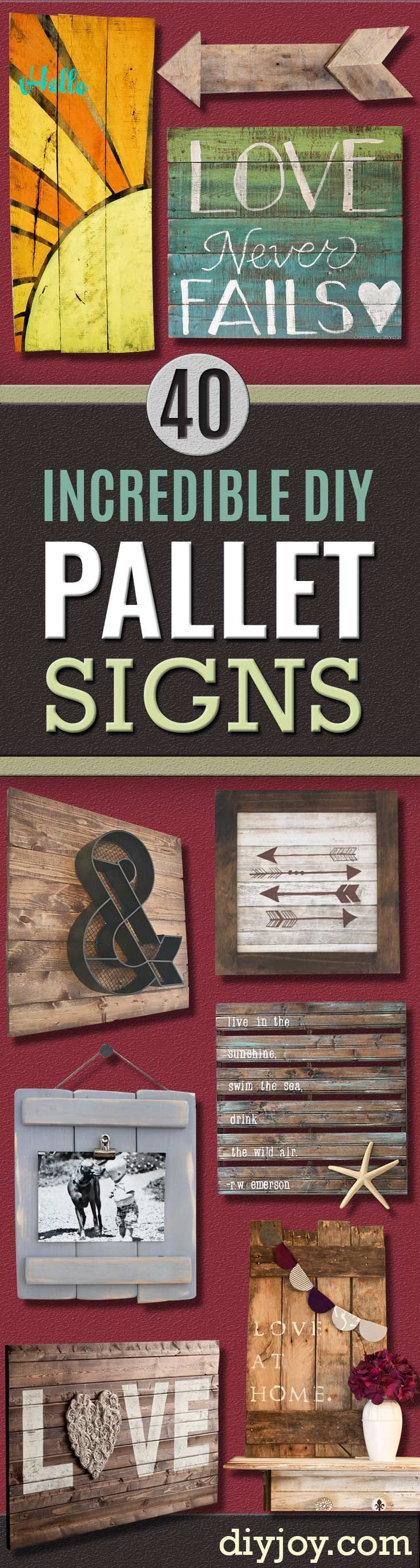 DIY Pallet sign Ideas – Cool Homemade Wall Art Ideas and Pallet Signs for Bedroom, Living Room, Patio and