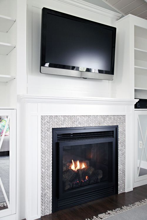 DIY Fireplace Built-In Tutorial by IHeart Organizing: So modern and trendy! See how they did it, and used Zinsser Smart Prime! Find out more about this next-generation, zero-VOC, water-based formula that is the one primer you need for every professional or DIY project. http://www.rustoleum.com/product-catalog/consumer-brands/zinsser/primer-sealers/smart-prime/: