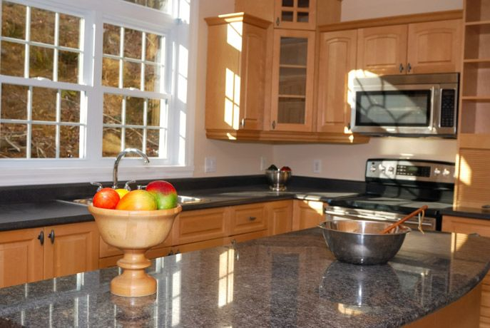 Maple cabinets with gray counters | kitchen remodel ... on Gray Countertops With Maple Cabinets  id=62426