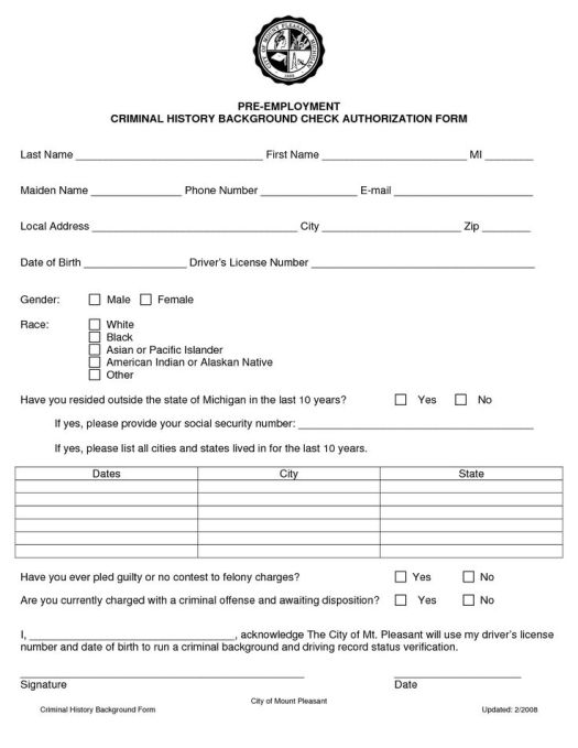 Background Check Release Form. Release And Disclosure Form ...