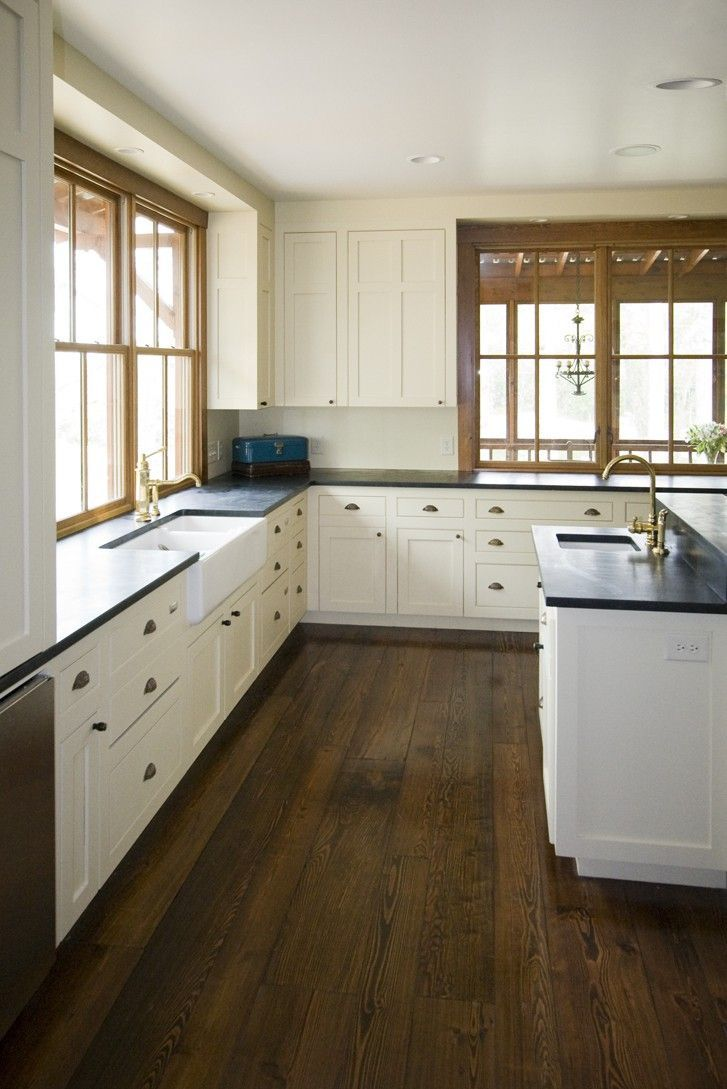 White Farmhouse Kitchen Wood Counter