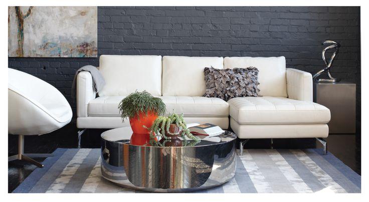 White Leather Arcadia Sectional With Chrome Leg Kasala Black White Pinterest White