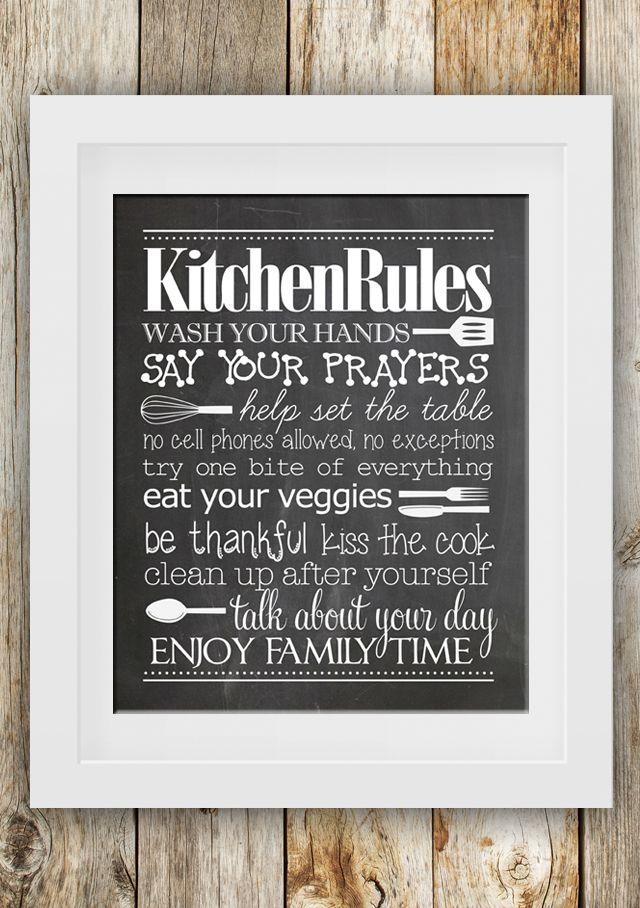 kitchen rules free printable nests kitchen quotes and signs on kitchen quotes printable id=61568