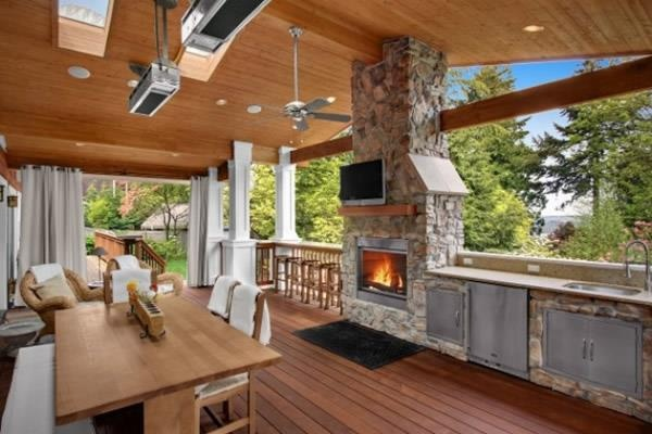 outdoor living on this wonderful deck fire and outdoor kitchen great for summer building on outdoor kitchen on deck id=66460