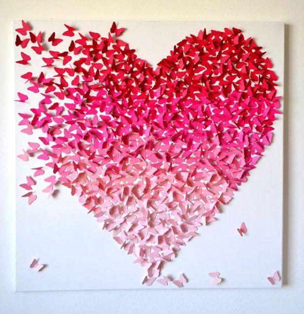 3d pink ombre heart made from hundreds of butterflies ...