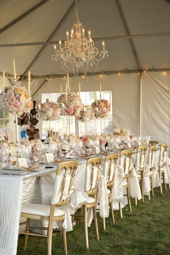 White Blush And Gold Wedding Reception With Chandeliers
