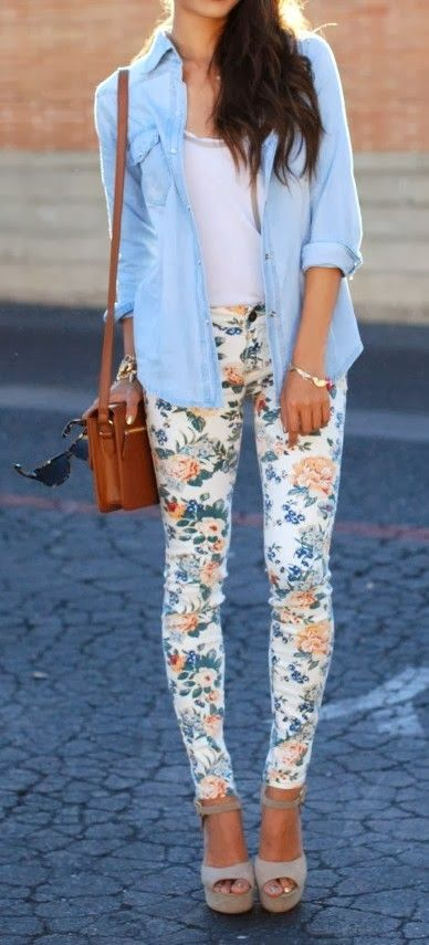 Cute spring look with floral leggings and denim shirt.: