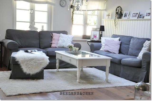 Gray Ektorp Sofas, Light Gray Walls ♥