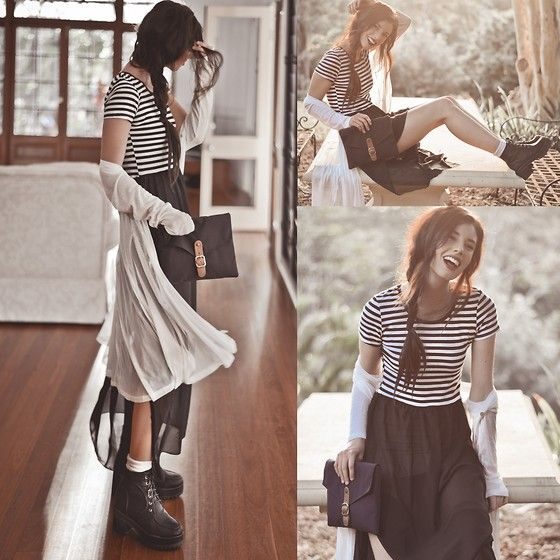 High Waste Double Layered Dress, Light Weight Pleated Cardigan, Black Thick Heel