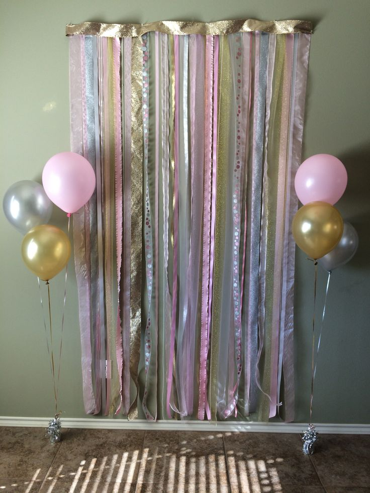 Pink Gold And Silver Photo Backdrop For 1st Birthday Party Kelseys 1st Birthday Pinterest