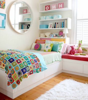 Love the white with bright colours and shelves – fantastic for a girls room. Fro