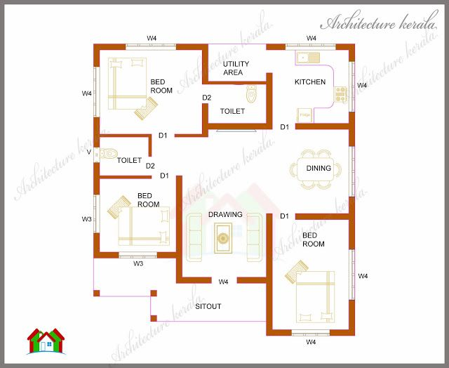 1200 Square Feet House Plan In Kerala 3 Bedroom Single Storied Sq Ft With Details