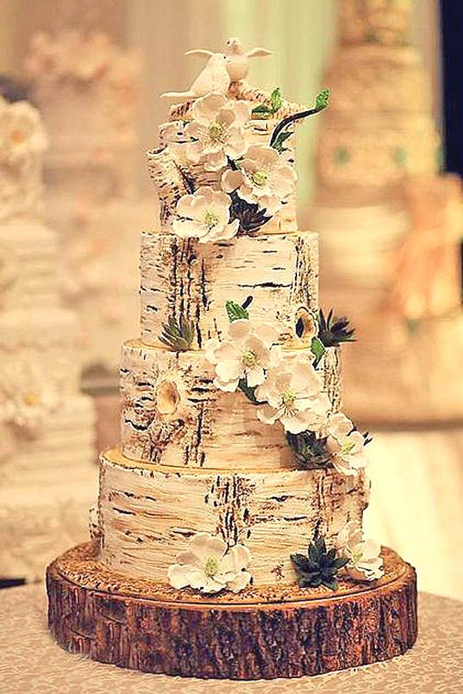 27 Must See Rustic Woodland Themed Wedding Cakes Wedding