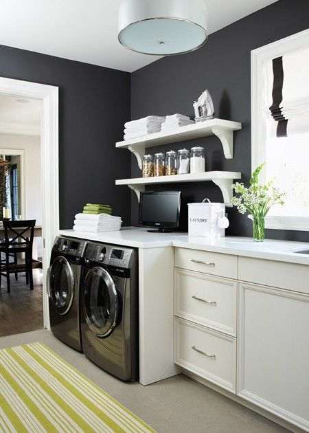 Laundry room, Charcoal walls, white shelves #laundry